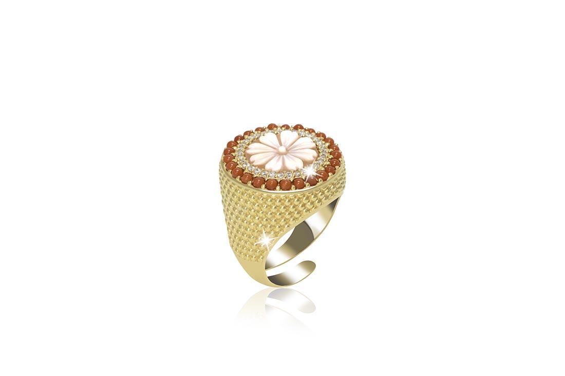 4. Srebrni prsten sa žutom pozlatom, koraljima i cirkonima, 504 kn, Zaks