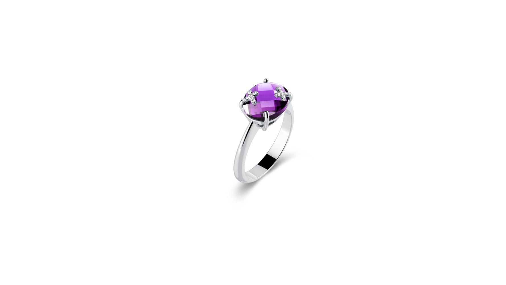 Zlatni prsten s briljantima i ametistom_Zaks_ 3.862,50 kn