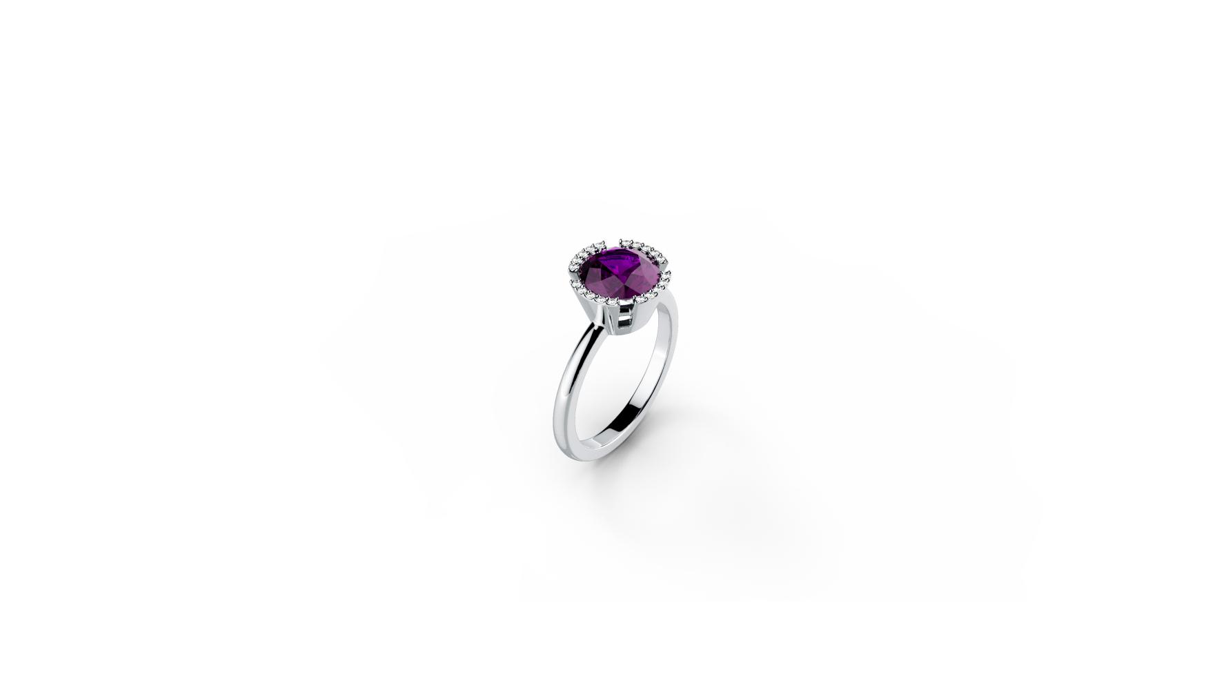 Zlatni prsten s briljantima i ametistom_Zaks_ 5.625,00 kn
