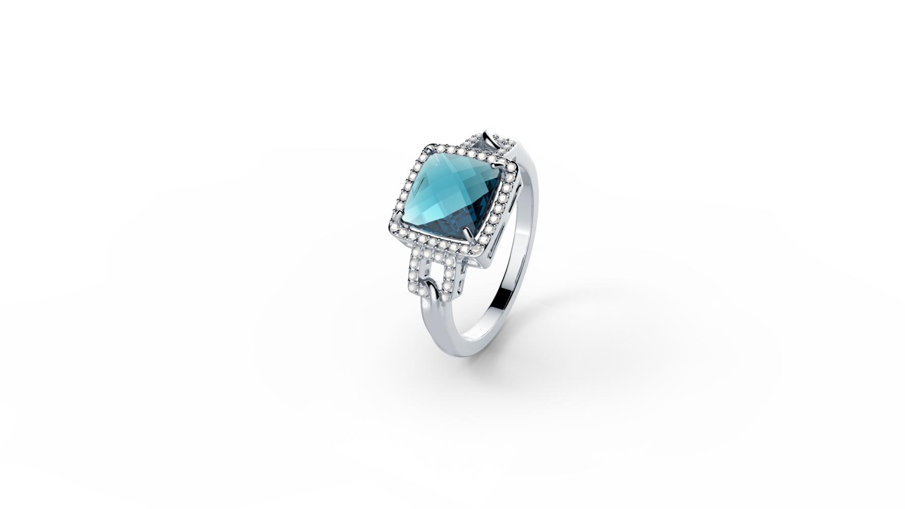 Zlatni prsten s briljantima i topazom_Zaks_ 7.875,00 kn