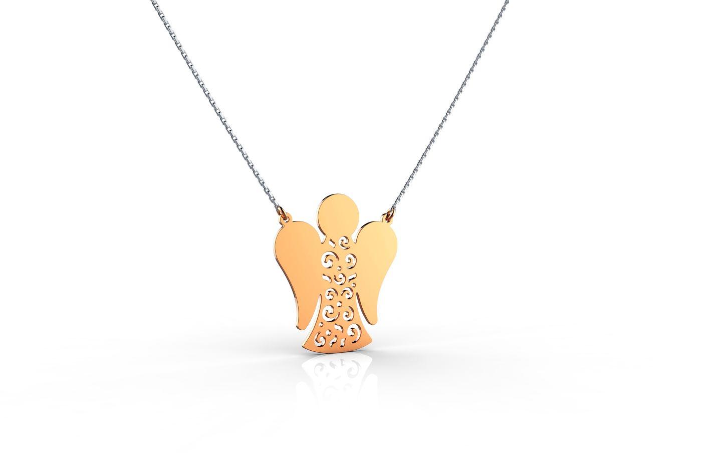 Srebrna ogrlica sa andjelom u rosegold pozlati_ 460kn_ZAKS