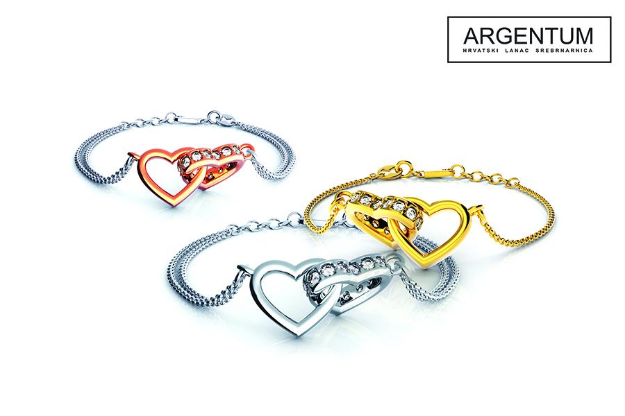 Zaljubljena srca, narukvice Argentum