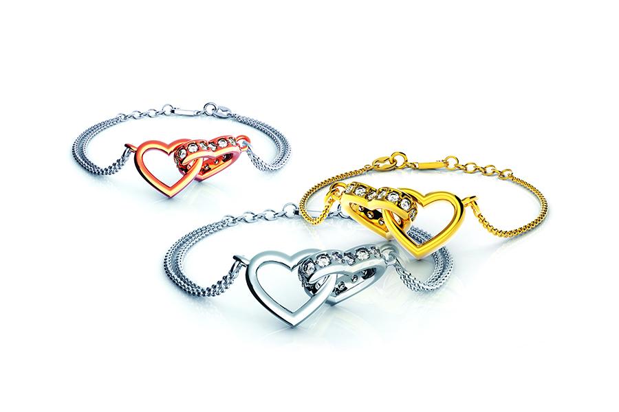 Zaljubljena srca, srebrne narukvice Argentum